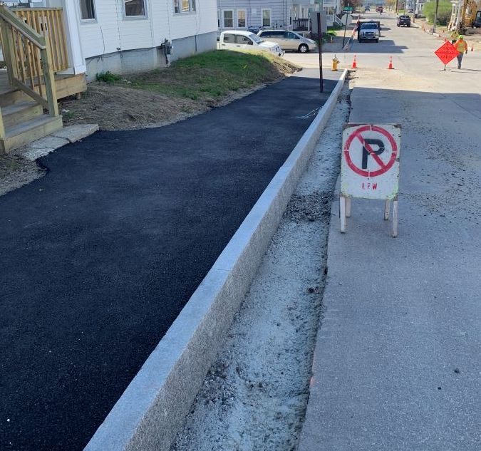 Lewiston, Maine Removed old sidewalks and installed new curbing on Jefferson and Bradley St