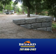 Bedard Excavation Built Retaining Wall in Greene, Maine